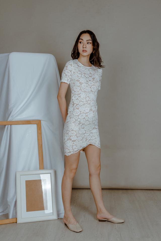 LACE WRAP DRESS (WHITE)