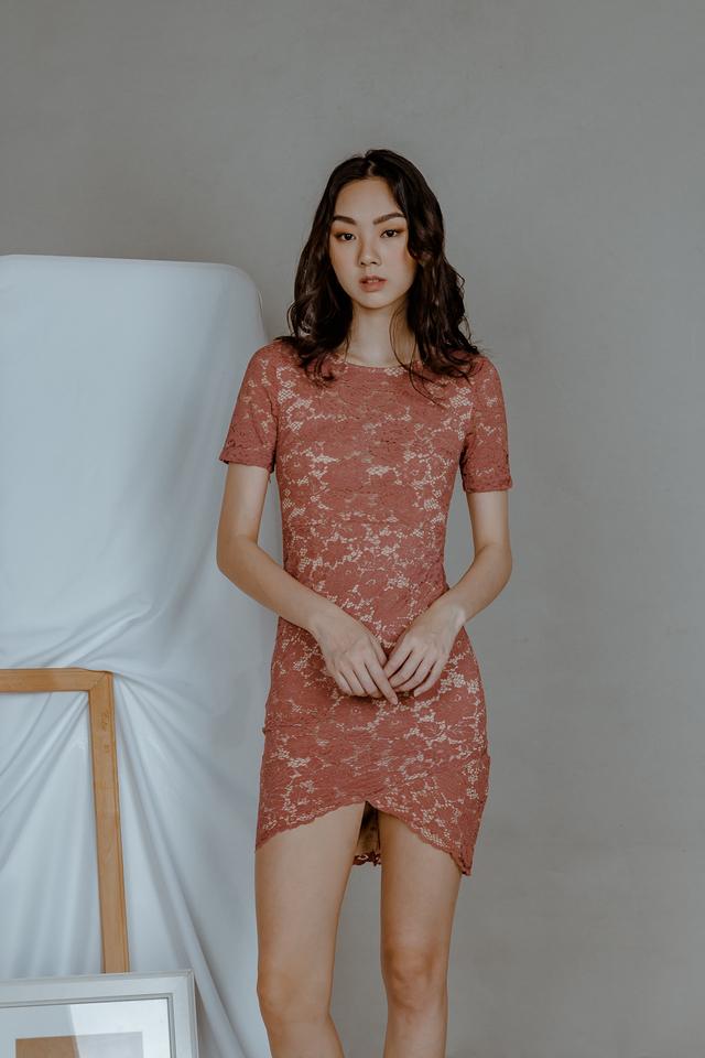 LACE WRAP DRESS (TEA ROSE)