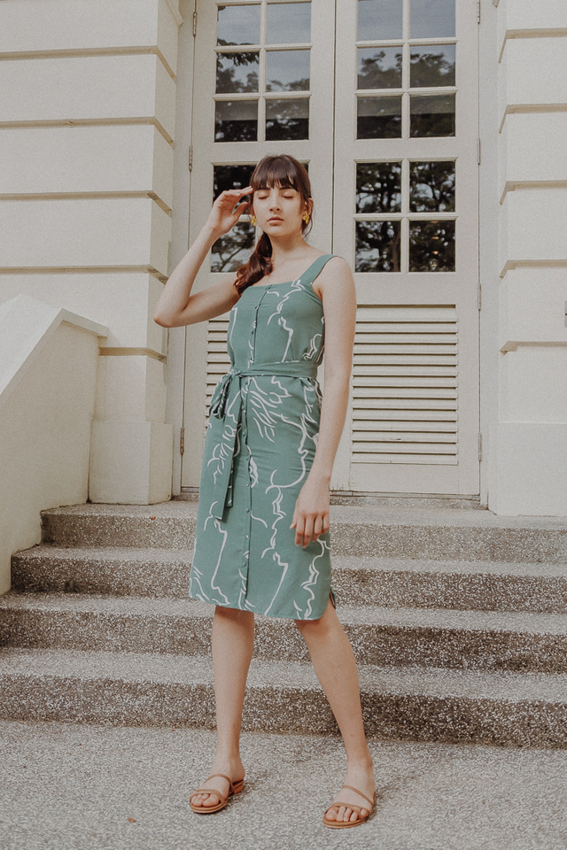 THE DIVINE ABSTRACT BUTTON DOWN MIDI (SAGE GREEN)