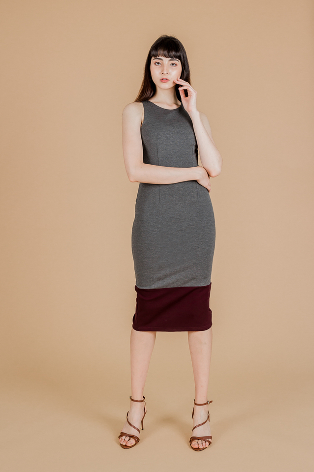 DUAL TONE BODYCON MIDI DRESS (GREY/MAROON)