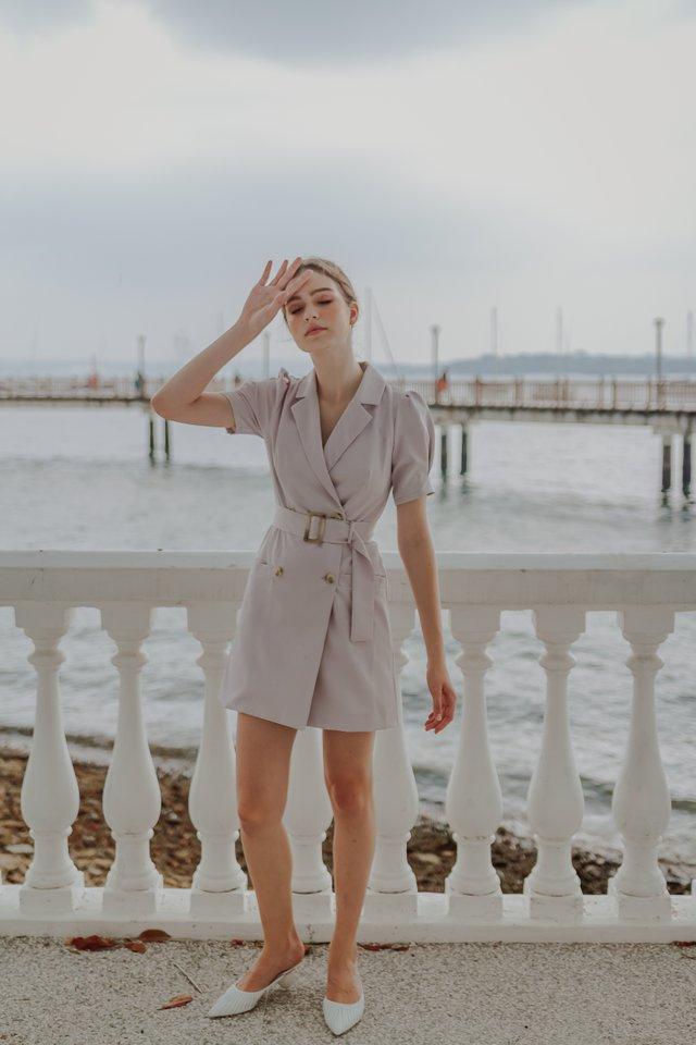 DARLA BELTED BLAZER DRESS (LILAC)