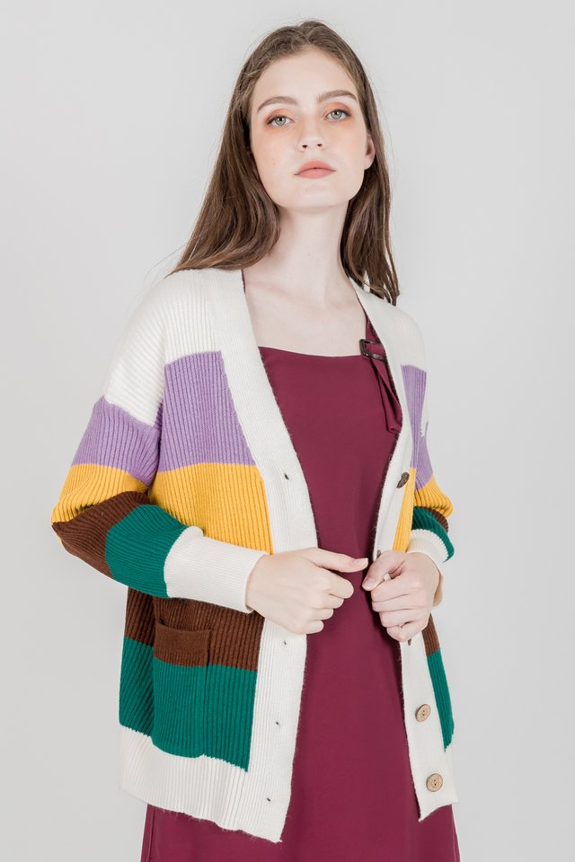 COLOURBLOCK KNIT OUTERWEAR (WHITE)