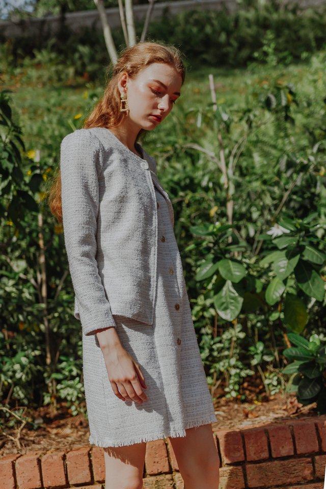 ERIKA TWEED BUTTON DRESS (LILAC)
