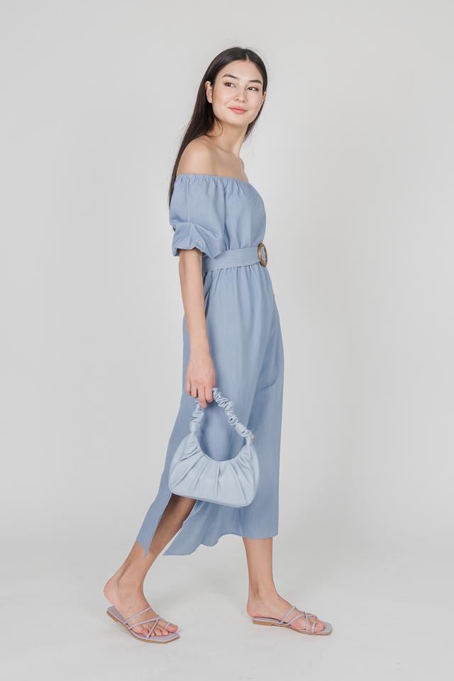 MODA OFF SHOULDER DRESS (BLUE)