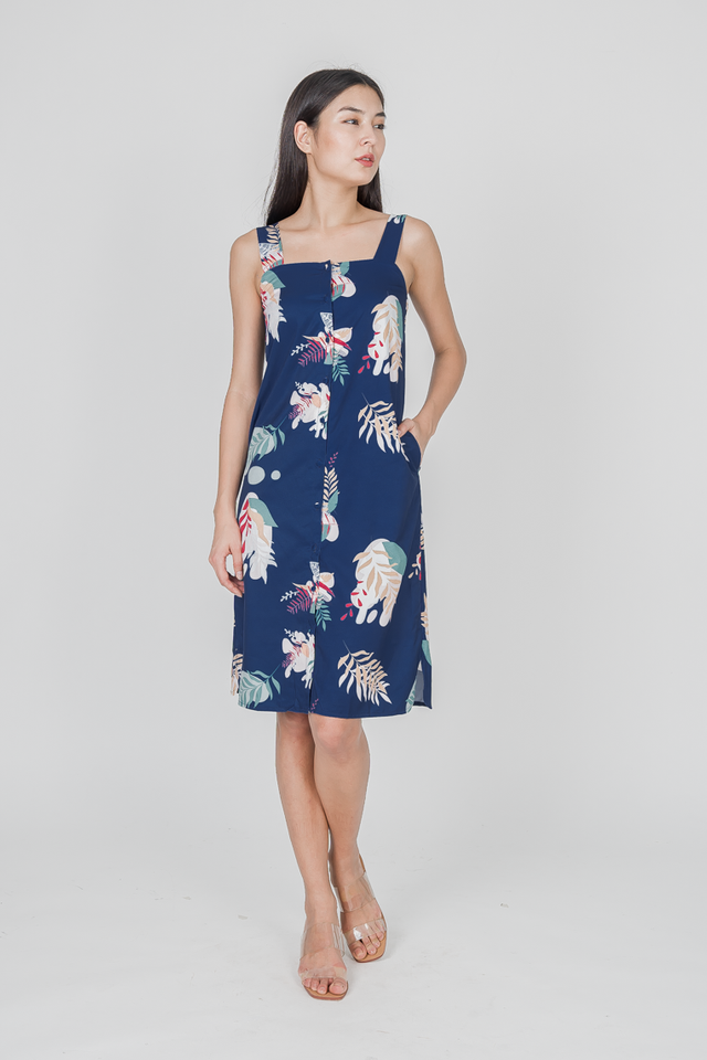 HAVANA FLORAL BUTTON MIDI DRESS (NAVY)
