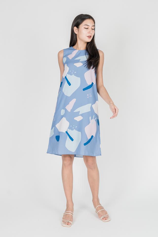 ABSTRACT SHIFT DRESS (BLUE)