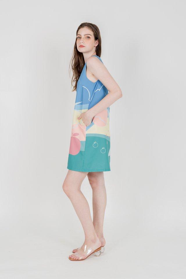 APPLE GARDEN SHIFT DRESS (GREEN)