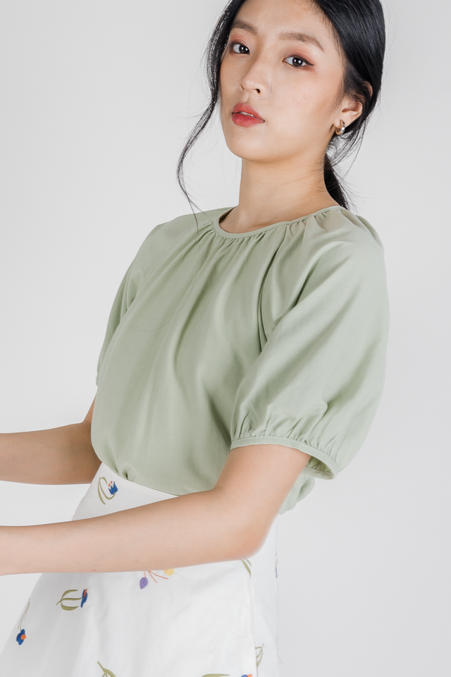 SANDRA RUCHED NECK LINE TOP (SAGE GREEN)