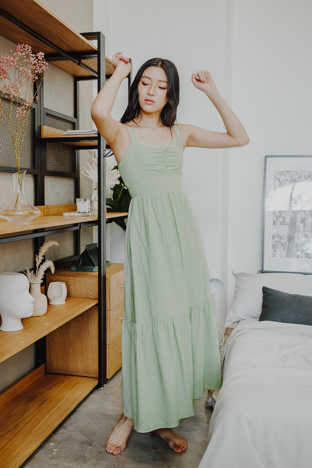 MEDLEY RUCHED RUFFLE MAXI DRESS (APPLE GREEN)