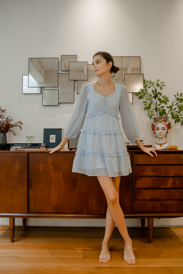 LIS GINGHAM TIERED DRESS (BLUE)