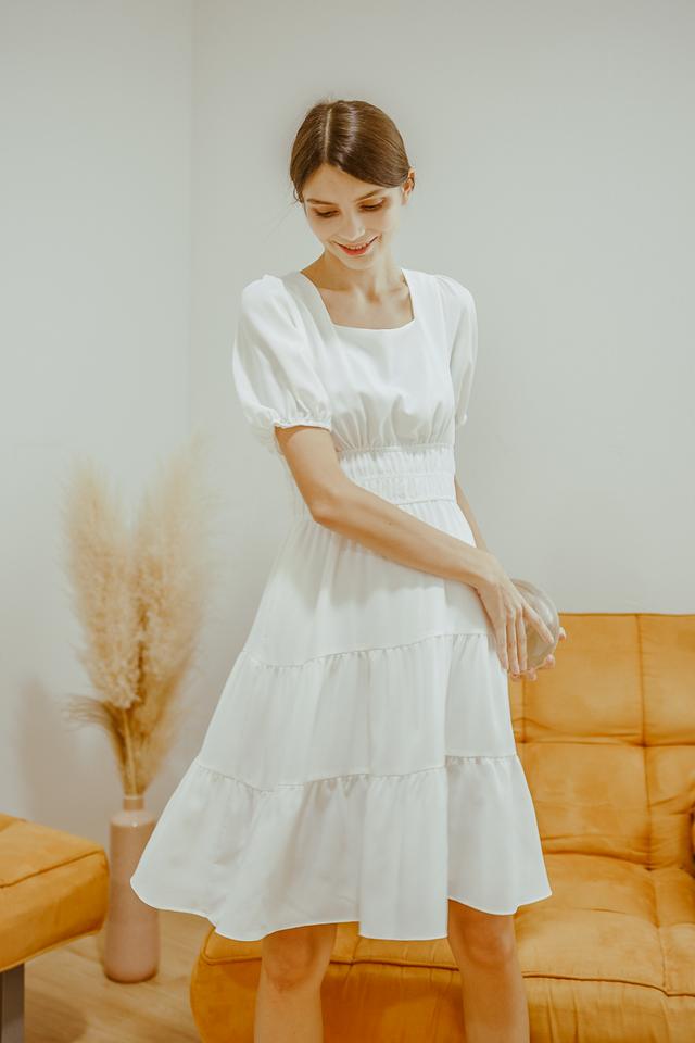 HAYLIE TIERED SLEEVE DRESS (WHITE)